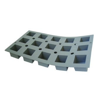 PLAQUE 15 PETITS CUBES 3,5CM ELASTOMOULE, MOUSSE DE SILICONE  (plaque de 300 x 176 mm)
