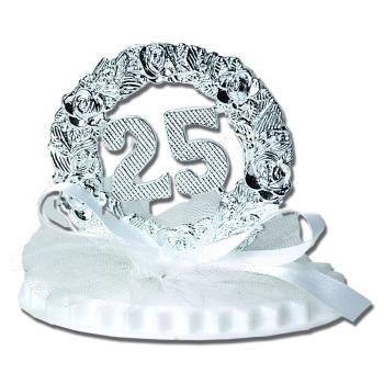 Anniversaire de mariage sur socle double 7,5 cm : 25 ans ARGENT