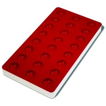 Plaque souple de 24 empreintes avec support rigide 180 x 335 mm : Demi-Sphère