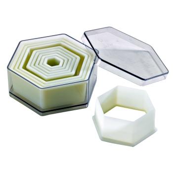 Boite de 9 découpoirs hexagonaux unis