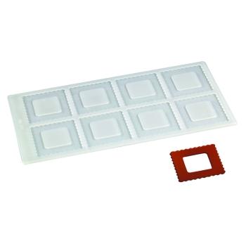 Plaque silicone 8 empreintes carrées pour Décors Chocolat et Sucre