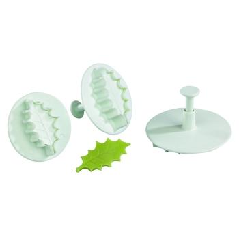 Découpoir plastique Empreinte + Poussoir Feuille de houx