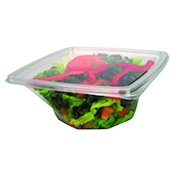 Bol salade carré vrille cristal PET pour utilisation froide - sachet de 50 ou 60 unités