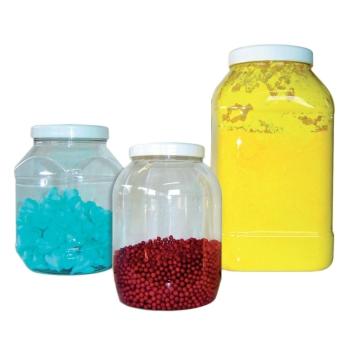 Bocal plastique alimentaire transparent avec couvercle blanc