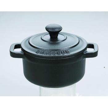 Cocotte ronde noire avec couvercle