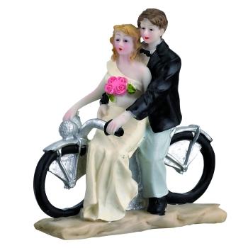 Couple sur moto en polystone