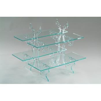 Présentoir étagère cristal 2 ou 4 tablettes