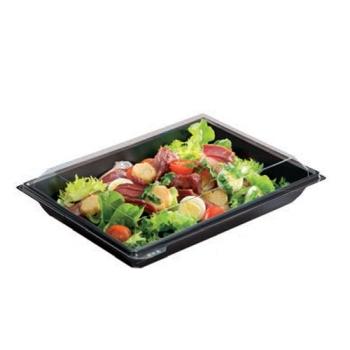 Assiette à couvercle séparé - Fond noir et couvercle cristal