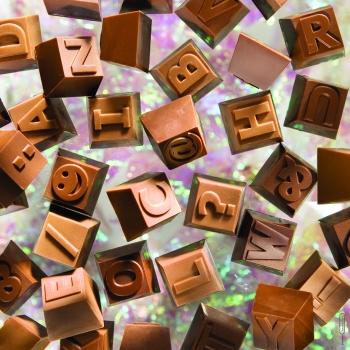 Lettres & Chiffres - Sous forme de bonbons carrés de 12 g  Plaque n°2 ( 380117 ) : Lettres N à Z et chiffres 6 à 0 + 6 symboles