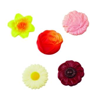 Fleurs assorties - 5 motifs pour la décoration des entremets et gâteaux - 10 empreintes