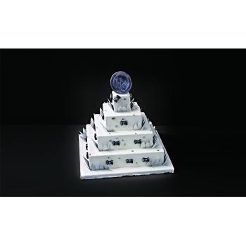 Wedding Cake Carré - pièce détachée - Jeu de 4 quarts inox 380 x 50 mm