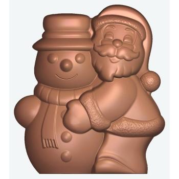 Moule polycarbonate chocolat - Père-Noël et bonhomme de neige