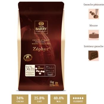 CHOCOLAT BLANC ZEPHYR - 1KG ou 500 grammes