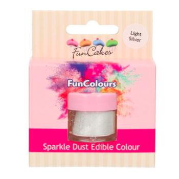 Poudre alimentaire FunColours Sparkle Dust -Light Silver- Argent - 1,5g - Halal