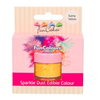 Poudre alimentaire FunColours Sparkle Dust - Jaune Soleil - Sunny Yellow- 1,5g - Halal