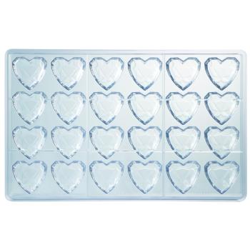 Plaque à bonbons - 24 coeurs diamants