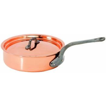 Sauteuse en cuivre cylindrique avec couvercle