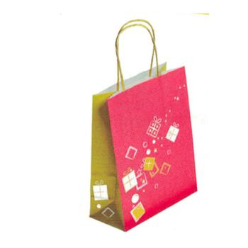 Sac cabas papier kraft impression cadeaux or/rouge