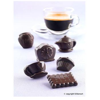 """Plaque silicone pour chocolat """"Easy Choc"""": 12 sujets """"Tea Time"""" (plaque de 214 x 106 mm)"""