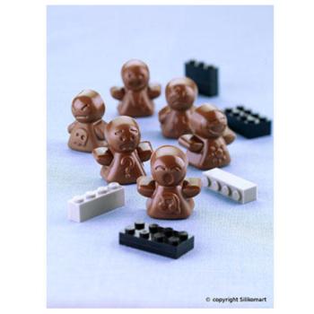 """Plaque silicone pour chocolat """"Easy Choc"""" : 12  bonhommes (plaque de 214 x 106 mm)"""