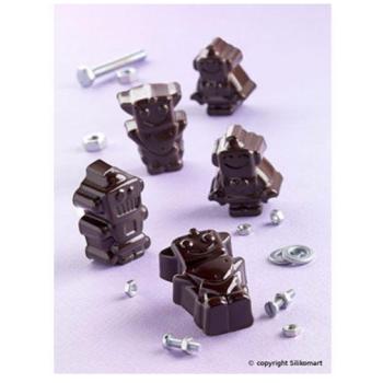 """Plaque silicone pour chocolat """"Easy Choc"""": 12 robots (plaque de 214 x 106 mm)"""