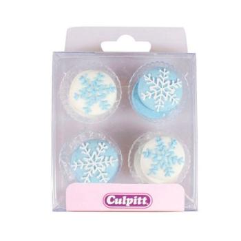 Décorations de sucre - Flocons de Neige - 12 unités