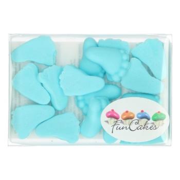 Décoration sucre pieds de bébé bleus - Funcakes