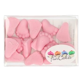 Décoration sucre pieds de bébé roses - Funcakes