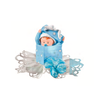 Bébé boîte bleu - 10 cm