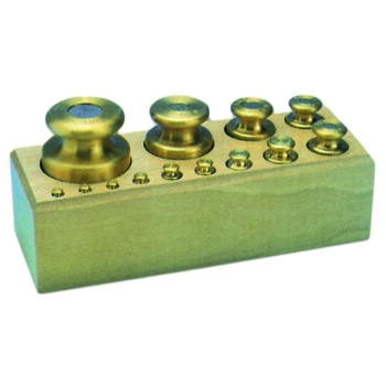 Série poids laiton socle bois