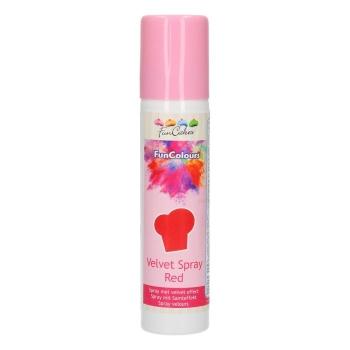 Funcakes - Spray EFFET VELOURS Colorant - Rouge - Halal - RÉSERVÉ AUX PROFESSIONNELS ET AU CAP