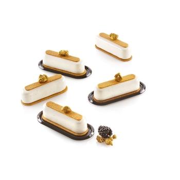 Coupelles ovales plastique noire P/100 - Caroline - mini finger - mini cylindres