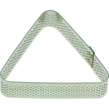 Triangle inox perforé - 8,5 x 7,5 x h 2 cm - angles arrondis -