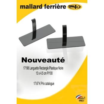 Languette rectangle plastique noire - 100 PIÈCES