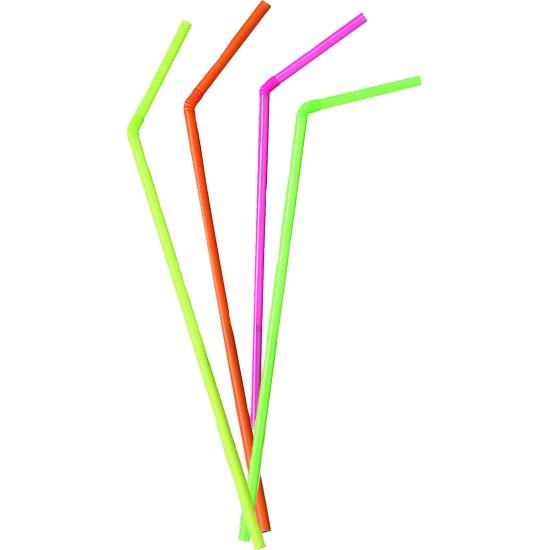 Pailles Chalumeau flexible fluo