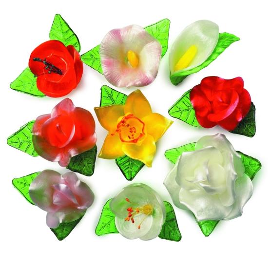 Bouquet floral 18 Fleurs sucre tiré + 30 Feuilles
