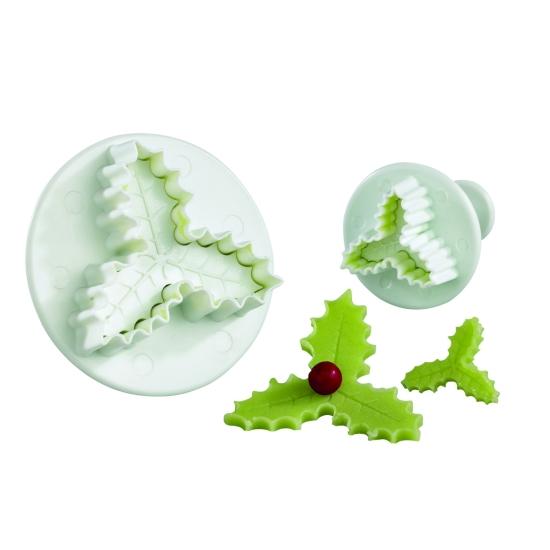 Découpoir plastique Empreinte + Poussoir Feuille de houx triple