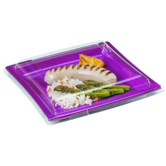 Couvercle Assiette carrée plastique - 25 unités