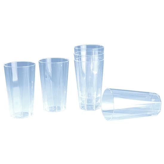 Verre plastique octogonal cristal - 20 unités
