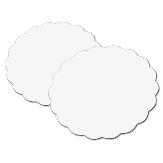 Rond festonné blanc tout bois - 250 unités