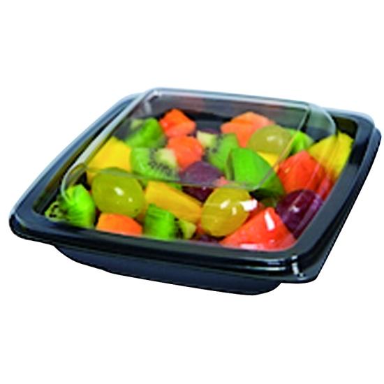 Assiette carrée noire à salade PET pour utilisation froide - sachet de 50 ou 60 unités