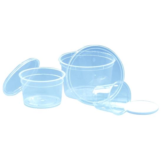 Pot à coulis transparent avec couvercle blanc étanche - 50, 100, 150 ou 200 unités