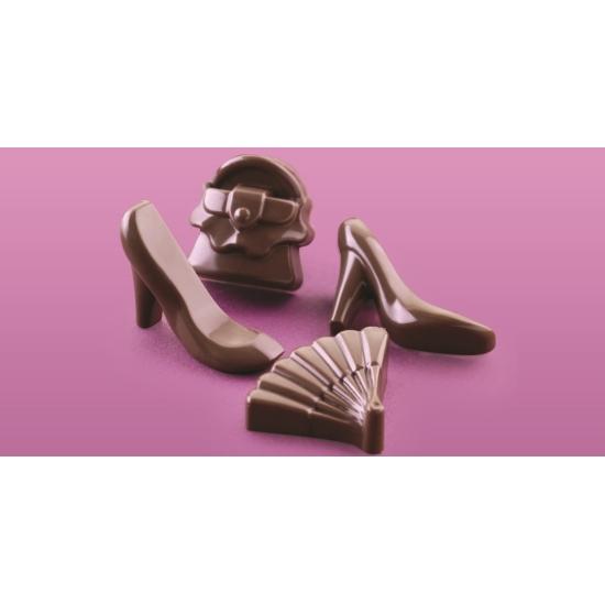 """Plaque silicone pour chocolat""""Easy Choc"""" : 14  sujets """"Fashion""""  (plaque de 214 x 106 mm)"""
