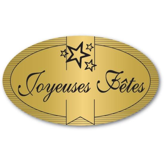 Etiquettes adhésives Joyeuses Fêtes - Boite distributrice de 500 étiquettes adhésives