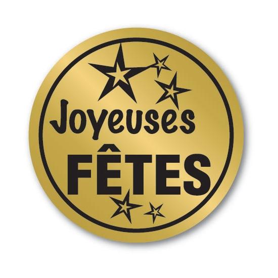 Etiquettes adhésives Joyeuses Fêtes 2 - Boite distributrice de 500 étiquettes adhésives