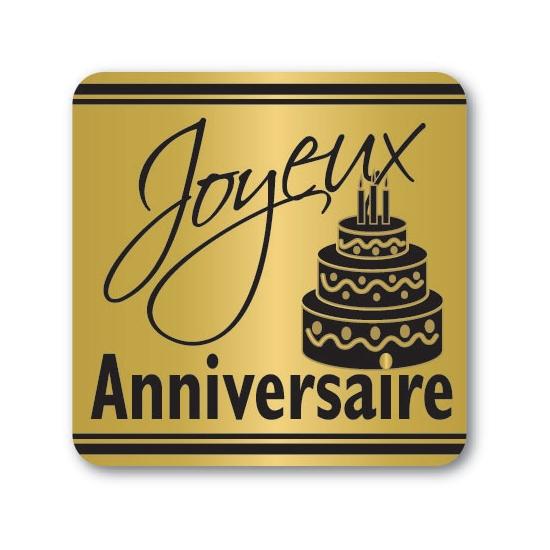Etiquettes adhésives Joyeux Anniversaire 2 - Boite distributrice de 500 étiquettes adhésives