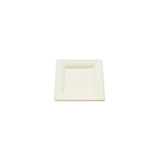 Assiette carrée en fibre de canne