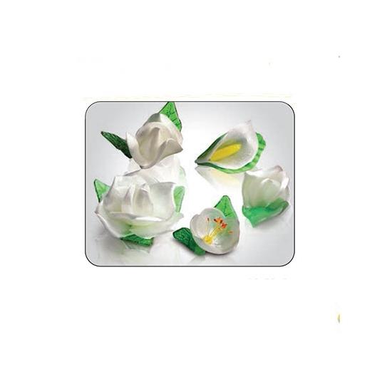18 fleurs fêtes blanches sucre tiré