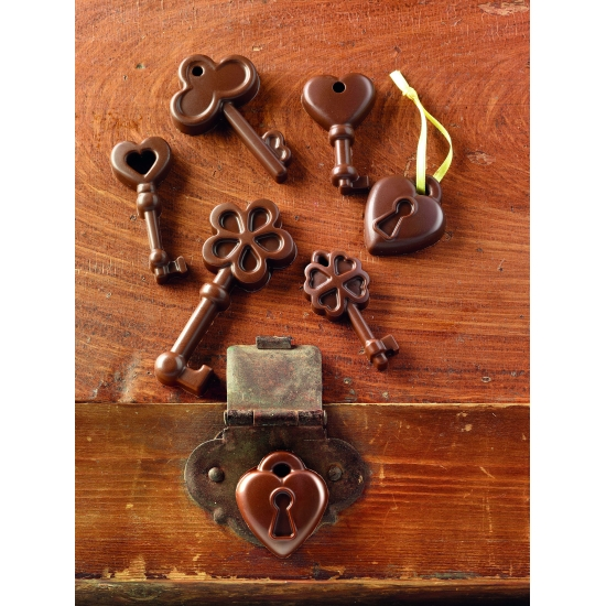 "plaque silicone pour chocolat ""easy choc"" - plaque 6 clefs et 2 cadenas"