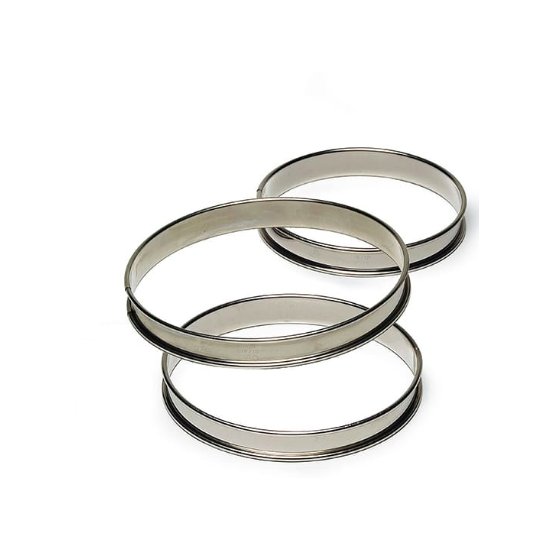 Cercles inox à tarte haut bords roulés